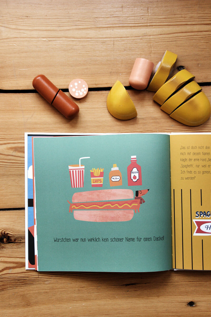 Kinderbuch mit Illustration mit Hot Dog und Burger