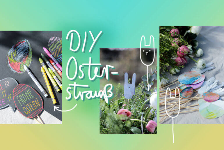 DIY Osterstrauß mit Illustrationen in Kooperation mit Caran dAche